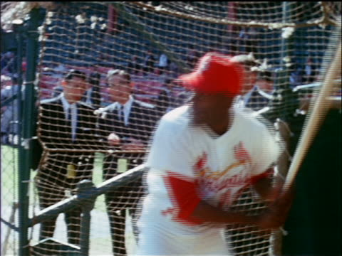 vídeos y material grabado en eventos de stock de st louis cardinal bill white practicing batting / industrial - uniforme de béisbol