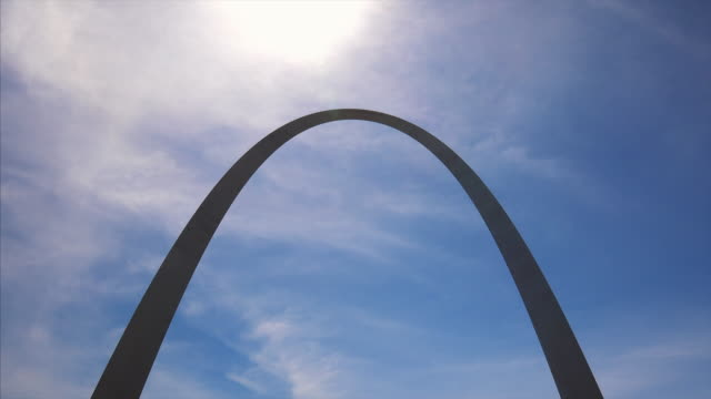 St Louis Gateway Arch silhouette against sky in downtown St Louis, Missouri