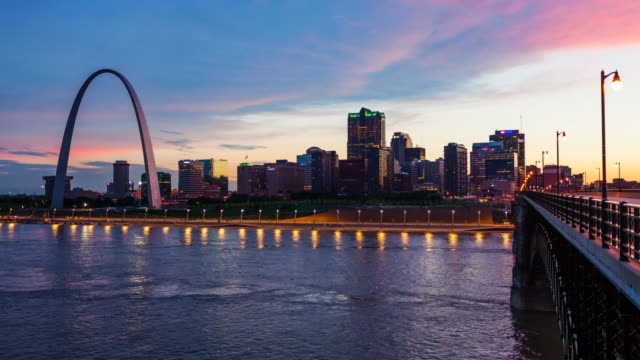 St Louis, Missouri cityscape skyline and Gateway Arch as night falls over downtown - timelapse