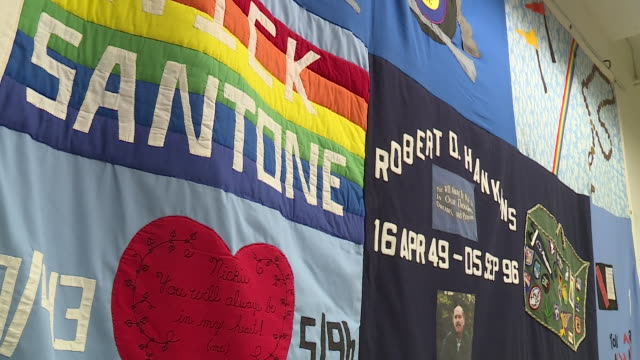 ktvi st louis mo us memorial tapestry to honore those who lost battle to aids on sunday december 1 2019 - tapestry stock videos & royalty-free footage