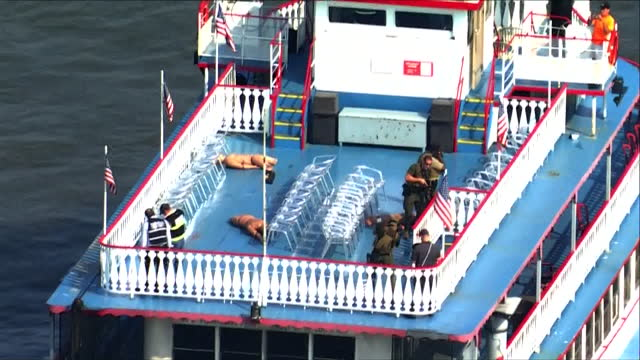 st. louis, mo, u.s. - st. louis law enforcement training on mississippi river, aerial view, on wednesday, july 28, 2021. the u.s. coast guard, st.... - helicopter point of view stock videos & royalty-free footage