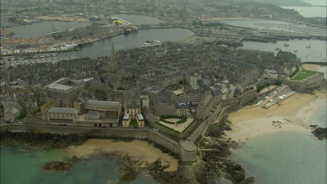aerial, st malo, brittany, france - english channel stock videos and b-roll footage