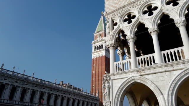 st. mark's cathedral tower and statue in venice - gothic style stock videos & royalty-free footage