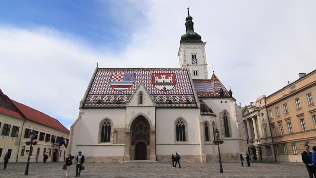 st. mark's church, zagreb, croatia - zagreb stock videos & royalty-free footage