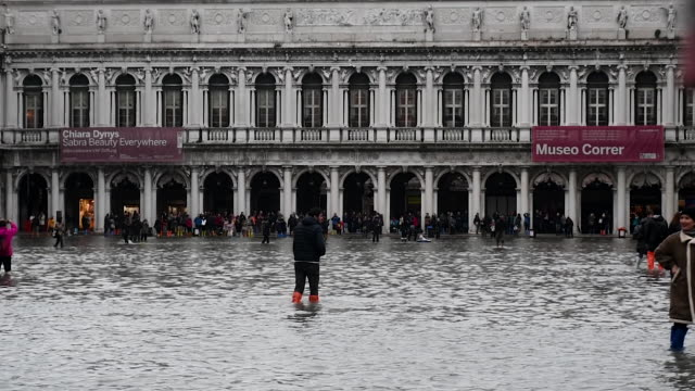 st mark's square is covered in water during an exceptional high tide on november 13 2019 in venice italy venice second highest tide after 1966 leaves... - venice italy stock videos & royalty-free footage