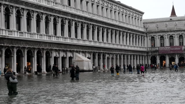 vidéos et rushes de st mark's square is covered in water during an exceptional high tide on november 13 2019 in venice italy venice second highest tide after 1966 leaves... - 1966