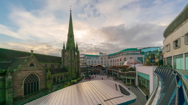 st martin's church and bullring shopping centre at dusk - birmingham england stock videos & royalty-free footage
