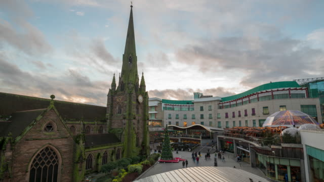 st martin's church and bullring shopping mall time-lapse - birmingham england stock videos & royalty-free footage