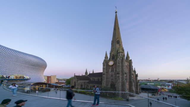 st martin's church in the bull ring time-lapse - birmingham england stock videos & royalty-free footage