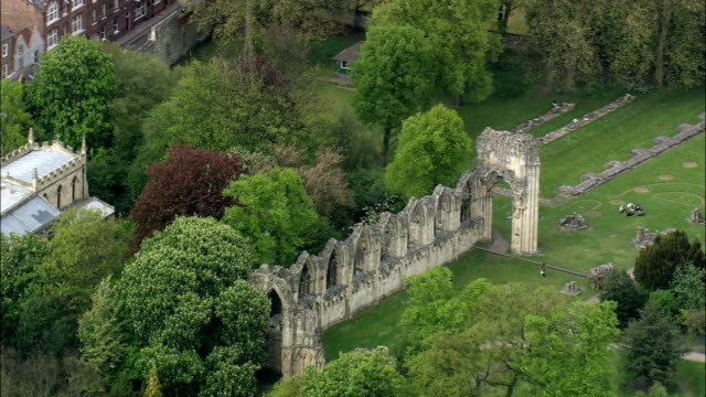 st mary's abbey  - aerial view - england,  york,  united kingdom - abbey stock videos & royalty-free footage