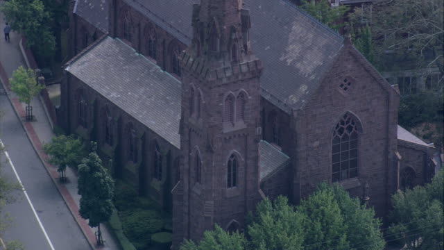 aerial st. mary's church in historic hill / newport, rhode island, united states - 19th century stock videos & royalty-free footage