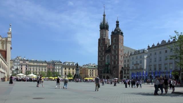 st. mary's church - krakow, poland - courtyard stock videos & royalty-free footage