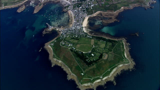 st mary's island  - aerial view - england, isles of scilly, st. mary's, united kingdom - isles of scilly stock videos & royalty-free footage