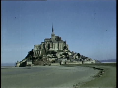 1944 montage st. michael on the mount / france - d day stock videos and b-roll footage