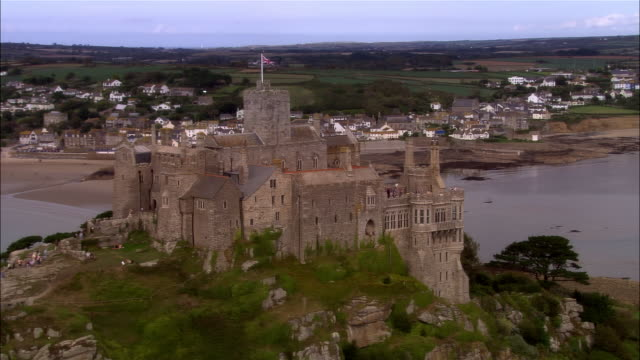low aerial, st michael's mount, cornwall, england - cornwall england stock videos & royalty-free footage