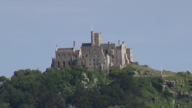 St Michaels Mount off the coast of Cornwall – one the most iconic tourist spots in England West Country on June 24 2013 in Cornwall England