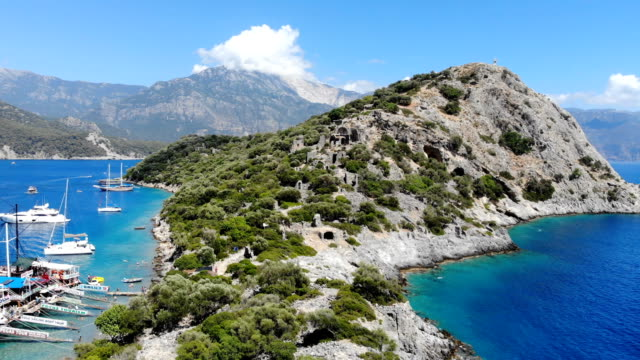 st. nicholas island from oludeniz. fethiye, turkey. - island stock videos & royalty-free footage