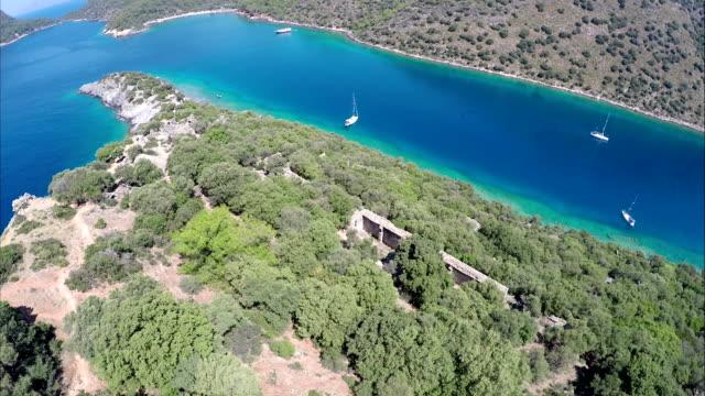 st. nicholas island & gemiler bay from oludeniz. fethiye / turkey. - oludeniz stock videos and b-roll footage