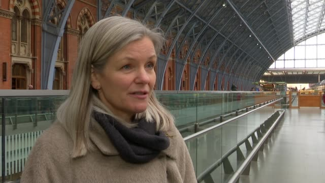 st pancras station 150th anniversary; st pancras station: josie murray interview sot **josie murray interview overlaid sot** trains on platforms... - john betjeman stock videos & royalty-free footage