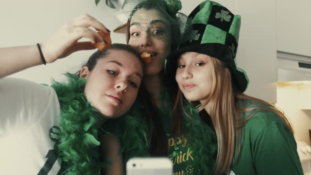 st. patrick girls party - st. patrick's day stock videos and b-roll footage