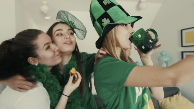 st. patrick girls party - st. patrick's day stock videos & royalty-free footage