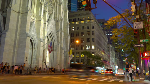 st. patrick's cathedral and 5 avenue - circa 5th century stock videos & royalty-free footage