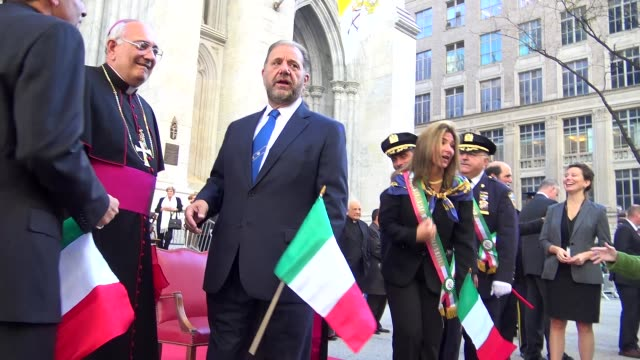 st patrick's cathedral clergy greets people during the annual columbus day parade via 5th avenue in manhattan new york city usa - st. patrick's cathedral manhattan stock videos and b-roll footage