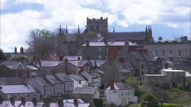 st. patrick's church of ireland cathedral, armagh, zoom out, northern ireland - county armagh stock videos and b-roll footage