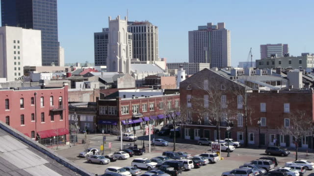 w/s, st. patrick's church, parking lot, rooftop view, new orleans, usa - spoonfilm stock-videos und b-roll-filmmaterial