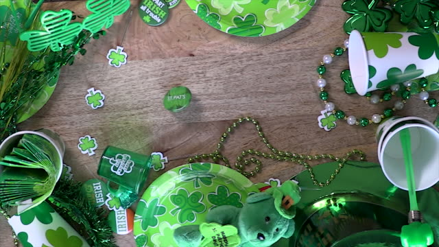 st. patrick's day decorations - clover leaf shape stock videos and b-roll footage