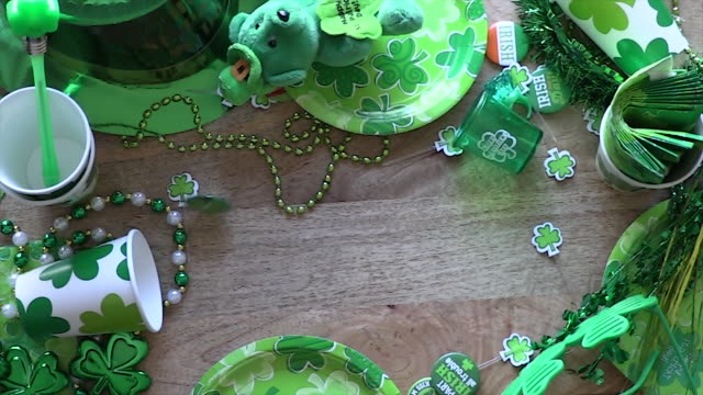 st. patrick's day decorations - st. patrick's day stock videos & royalty-free footage