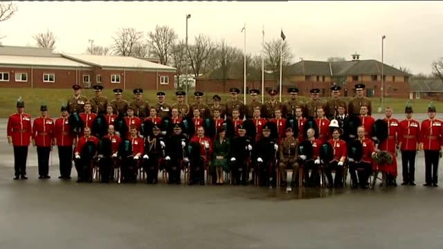 duchess of cambridge distributes shamrocks to irish guards: photocall; england: hampshire: aldershot: mons barracks: ext various shots of catherine,... - aldershot stock videos & royalty-free footage