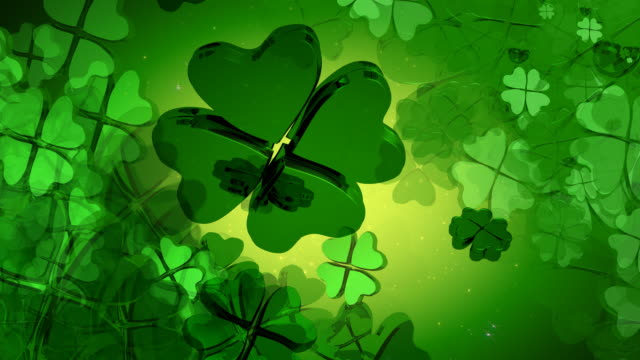 st. patrick's day - green four leaf clover design - st. patrick's day stock videos and b-roll footage