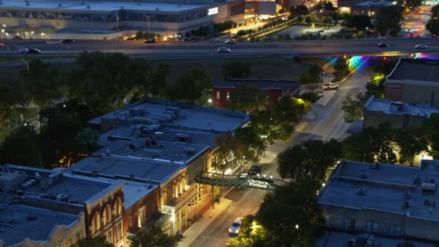 st paul square historic district, san antonio, texas at night - drone shot - establishing shot stock videos & royalty-free footage
