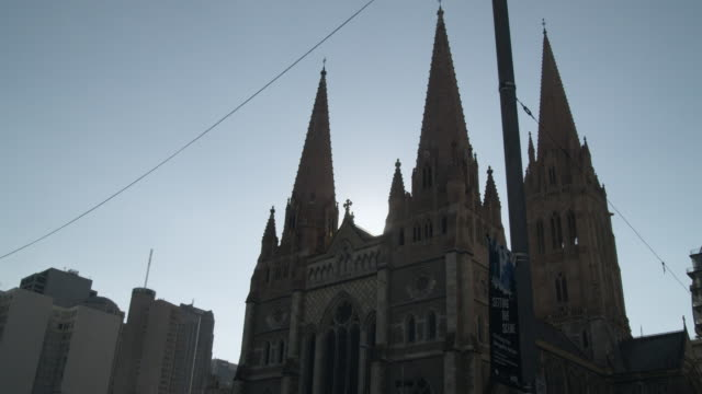 MS St. Paul's Cathedral against blue sky, Federation Square, Melbourne, Victoria, Australia