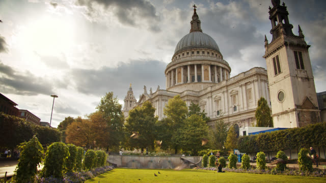 st. paul's cathedral. day. park. sun. london - protestantism stock videos & royalty-free footage