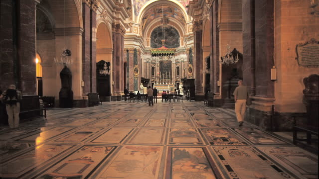 ws st. paul's cathedral interior / mdina, malta - cathedral stock videos & royalty-free footage