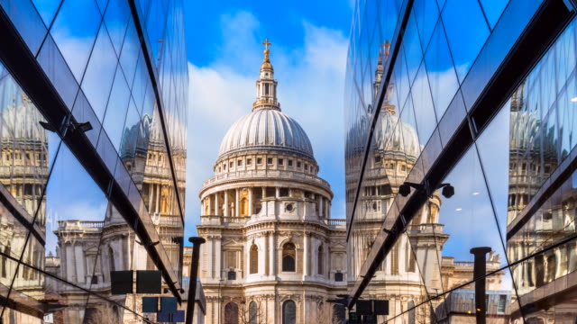 st. pauls cathedral reflected in modern glass building, tl, ms - new stock videos & royalty-free footage
