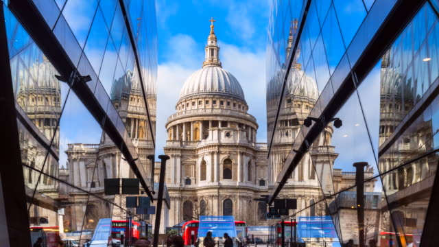 st. pauls cathedral reflected in modern glass building, tl, zi - cathedral stock videos & royalty-free footage