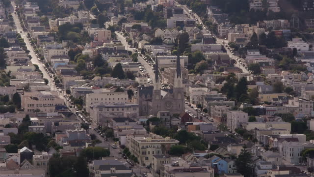 St Paul's Catholic Church in Noe Valley, San Francisco seen from above