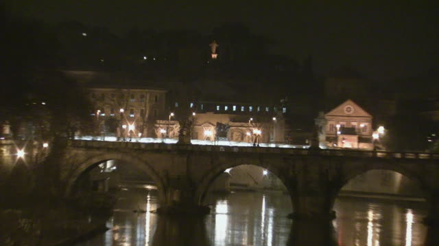 zo, ws, st peter's basilica illuminated at night seen across tiber river, vatican city - naga river stock videos and b-roll footage