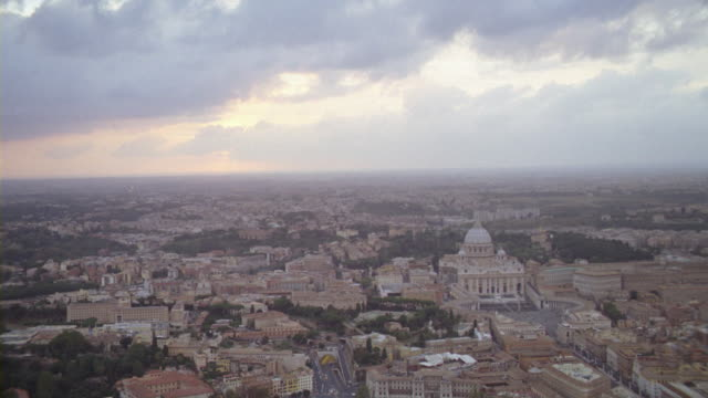 St. Peter's Basilica is seen from high above the streets of the Vatican City.