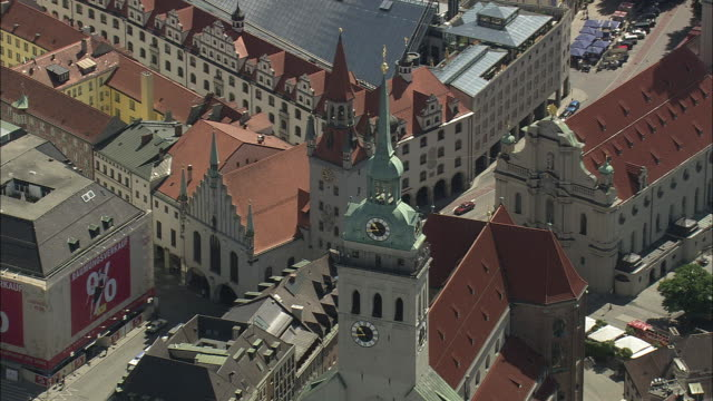 AERIAL St. Peters Church in city centre, Munich, Bavaria, Germany
