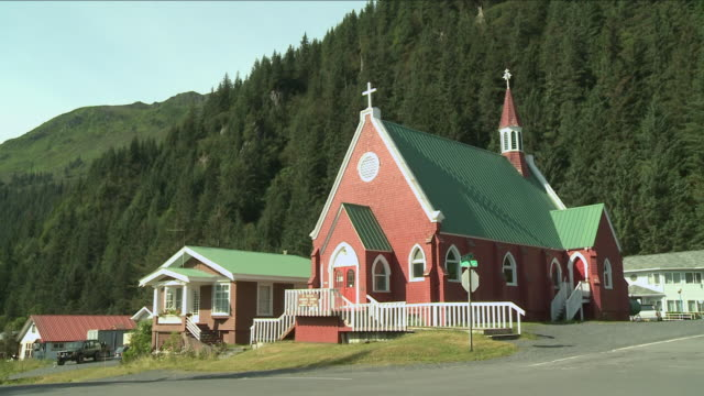 """st peter's episcopal church in the morning sun, forest in background, 239 2nd ave. at adams st, seward, kenai peninsula, alaska."" - kenai stock videos & royalty-free footage"