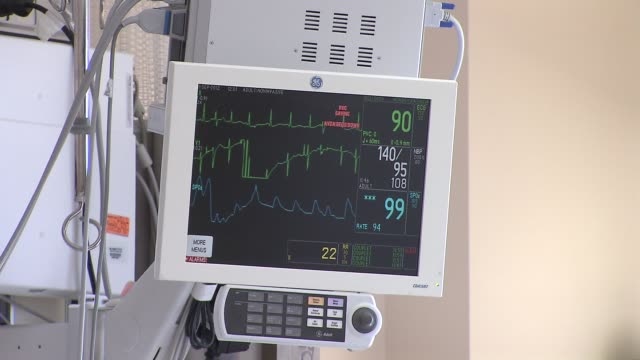 st peter's hospital emergency unit vitals monitor in hospital room on december 23 2013 in new york new york - cardiac conduction system stock videos and b-roll footage