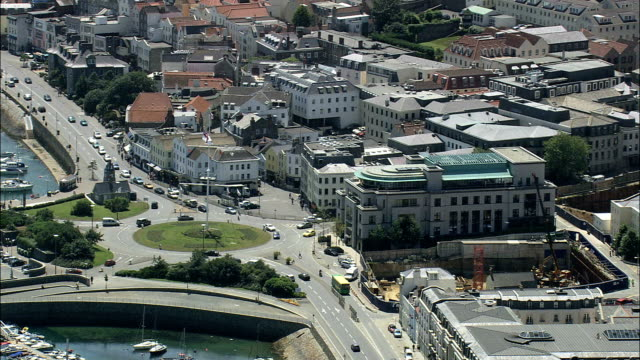 st peter's port  - aerial view - helicopter filming,  aerial video,  cineflex,  establishing shot,  guernsey - channel islands england stock videos and b-roll footage