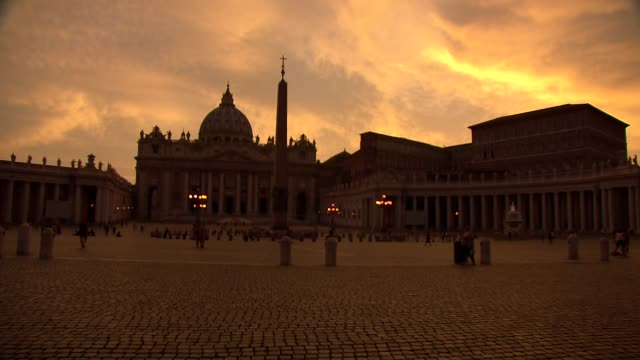 st. peter's square at sunset - obelisk stock videos & royalty-free footage