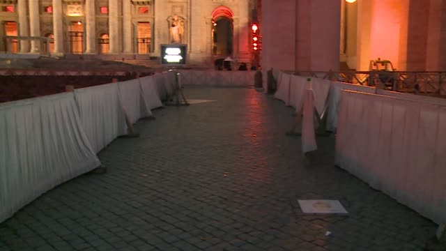st. peter's square in evening - preparation to mass - st peter's square stock videos & royalty-free footage