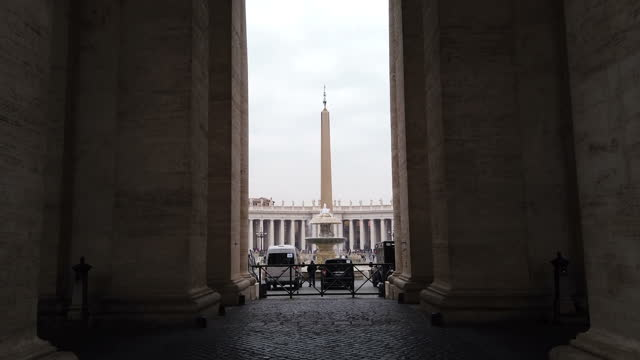 st. peter's square with obelisk in vatican - st peter's square stock videos & royalty-free footage