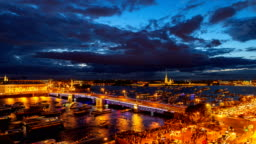 St. Petersburg, opening Palace bridge. Time-lapse photography view from the roof to Neva water area, Peter and Paul Fortress, Palace bridge and the Spit of Vasilievsky Island